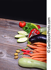 texte, légumes, bois, fond, espace