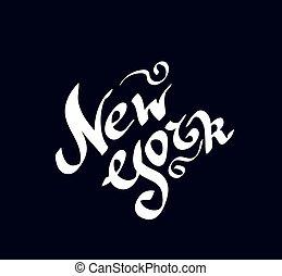 texte, main, clair, york, nouveau, dessiné