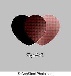 texte, noir, deux, rouges, cœurs