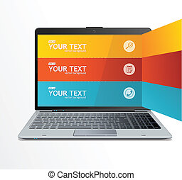 texte, ordinateur portable, boîtes, infographics