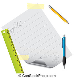 texte, papier, accessoires, revêtu