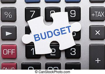 texte, puzzle, puzzle, budget, morceau, calculatrice