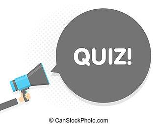 texte, quiz., illustration, signe, megaphone., vecteur, parole, tenant main