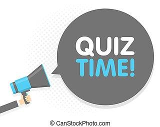 texte, quiz., illustration, signe, megaphone., vecteur, parole, tenue, temps, main