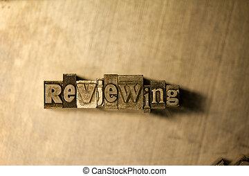 texte, -, réexaminer, letterpress, signe