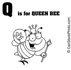 texte, reine, q, abeille