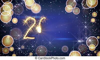 texte, salutation, animation, année, sparkler, nouveau, 2017