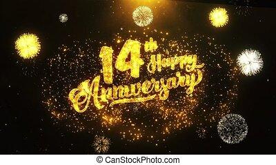 texte, salutation, anniversaire, 14e, voeux, fond, invitation, célébration, heureux