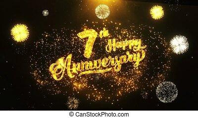 texte, salutation, anniversaire, voeux, fond, invitation, 7ème, célébration, heureux