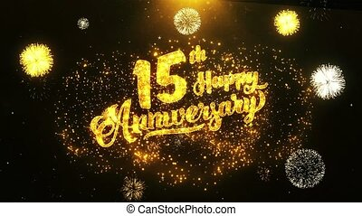 texte, salutation, anniversaire, voeux, fond, invitation, célébration, 15e, heureux
