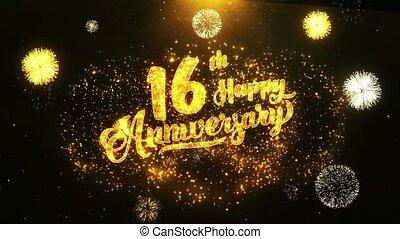 texte, salutation, anniversaire, voeux, fond, invitation, célébration, 16ème, heureux
