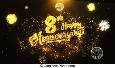 texte, salutation, anniversaire, voeux, fond, invitation, heureux, célébration, 8ème