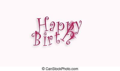 texte, salutation, typography., anniversaire, vidéo, célébration, carte, heureux