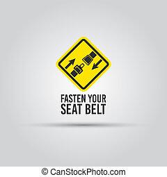 texte, signe jaune, prudence, attacher ceinture sécurité