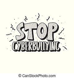 texte, signe., vecteur, quote., arrêt, conception, cyberbullying