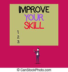 texte, skill., bon, deux, potentials, très, rectangle., excellent, signification, vue, ton, jeune, haut, concept, isolé, améliorer, maîtrise, écriture, ouvrir, mains, grand homme, debout, pointage