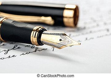 texte, stylo, papier, fontaine, encre