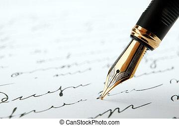 texte, stylo, papier, fontaine, fond, encre, blanc