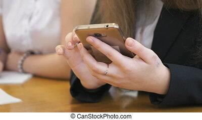texte, téléphone, étudiant, dactylographie, utilisation, intelligent