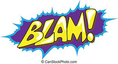 texte, -, vecteur, blam, comique, expression