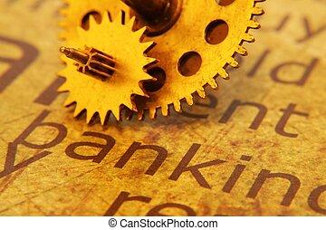 texte, vieux, engrenage, banque