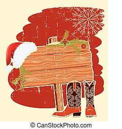 texte, wall., fond, bois, santa, panneau affichage, chapeau, vecteur, noël, cowboy charge, cadre, rouges