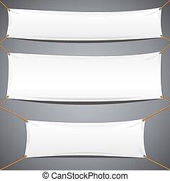 textile, banners., vecteur, publicité, gabarit, blanc
