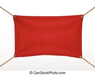 textile, bannière, rouges