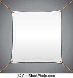 textile, blanc, vecteur, bannière