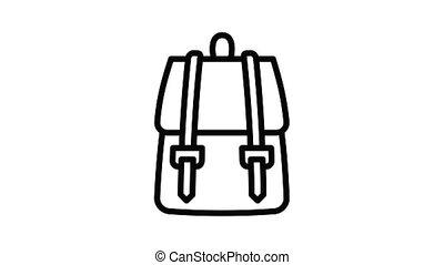 textile, sac à dos, animation, icône