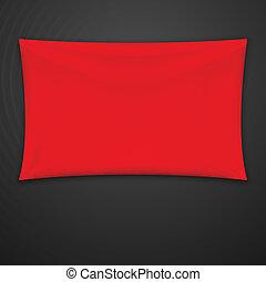 textile, vecteur, rouges, banner.