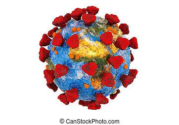 texture, 3d, rendre, coronavirus, pandémie, la terre, concept.