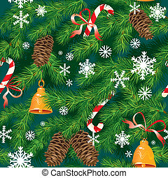 texture, arbre, couleurs, nouveau, fond, seamless, -, sapin, noël, x-mas, vert, flocons neige, pattern., accessoires, année