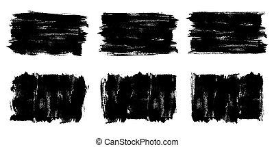 texture., bannière, brosse, noir, grunge, coups, peinture, vector., peint, fond, set., étiquettes