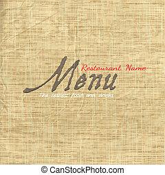 texture, carte papier, vieux, menu, conception