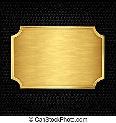 texture, or, vecteur, illustra, plaque