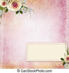 texture, roses, fond, rose, cadre