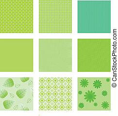 textures, ensemble, arrière-plan vert