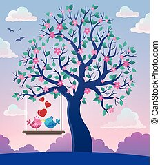 thème, 2, arbre, oiseaux, valentin