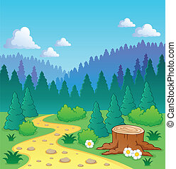 thème, 2, forêt, image
