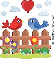 thème, 2, oiseaux, barrière, valentin