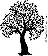 thème, arbre feuillu, silhouette