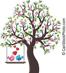 thème, arbre, oiseaux, 1, valentin