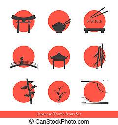 thème, ensemble, japonaise, icônes