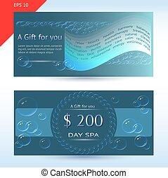 thème, gabarit, bulles, certificat, cadeau, spa, mots