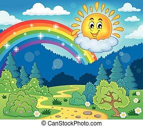 thème, gai, printemps, soleil