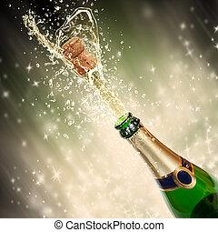 thème, irrigation, célébration, champagne