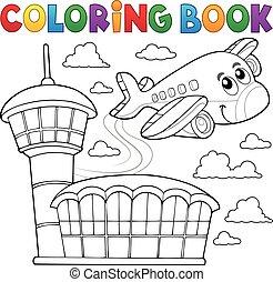 thème, livre, avion, 3, coloration