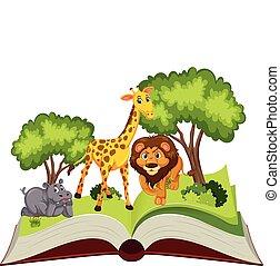 thème, livre, haut, pop, animal