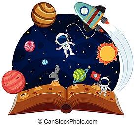 thème, livre, haut, pop, espace